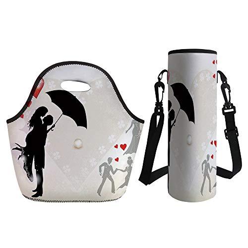 3D Print Neoprene lunch Bag with Kit Neoprene Bottle Cover,W