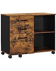 VASAGLE archiefkast, rolcontainer, vrij verrijdbaar, met wielen en 3 laden, voor documenten in DIN A4, briefformaat, printerstandaard, industriële stijl, vintage bruin-zwart OFC041B01