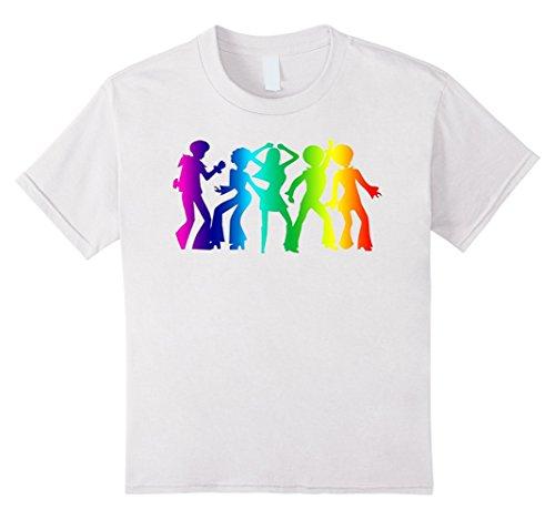 Kids Vintage Retro 1970s Rainbow Disco Dancers T-Shirt Graphic 12 White (2)