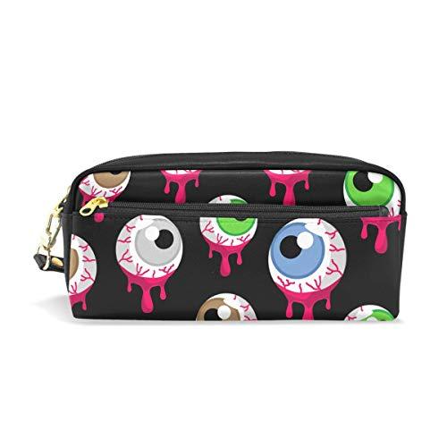 ColourLife Pen Pencil Case Halloween Alien Eyeballs Leather Zipper Pouch Bag Makeup Cosmetic Bag Pencil Holder