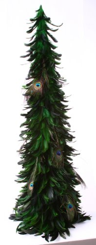 """ZUCKER Large Rustic Feather Christmas Tree, 42"""" Peacock Eye Autumn or Fall Decor"""