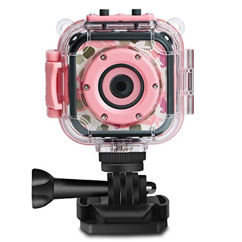 DROGRACE Children Kids Camera Waterproof Digital Video HD Action Camera 1080P Sports Camera Camcorder DV for Girls Birthday Holiday Gift Learn Camera Toy 1.77'' LCD Screen (Pink)]()