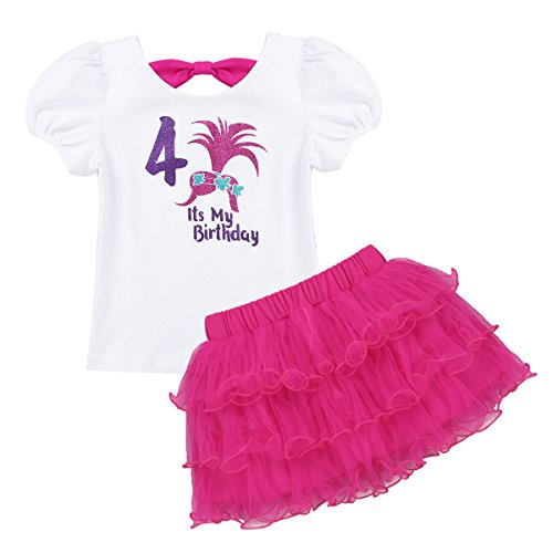 dPois Kids Girls' Poppy Troll 2nd/3rd/4th/5th/6th/7th Birthday Glittery Outfits Short Sleeves T-Shirt with Layered Tutu Skirt Rose Red (Seventh Letter T-shirt)