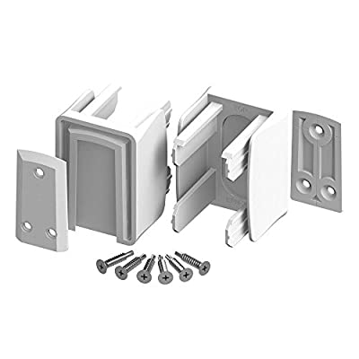 3 in. x 3 in. x 3 in. White Vinyl Fence Slidelock Bracket Kit