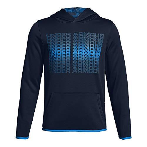 Under Armour Boys' Armour Fleece Branded Hoodie, Academy (408)/Blue Circuit, Youth Medium