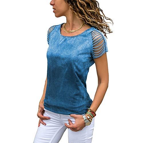 MaQiYa Womens Tie Dye Hippie T Shirt Summer Cotton Casual Tops Cut Out Short Sleeve Tunic Bohemain Tees Blue