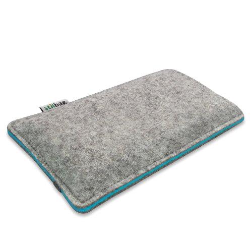Stilbag Filztasche 'FINN' für Apple iPhone 6 plus - Farbe: hellgrau/azur