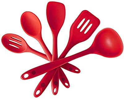 StarPack Premium Silicone Kitchen Utensil Set (5 Piece) in Hygienic Solid Coating - Bonus 101 Cooking Tips by StarPack Home
