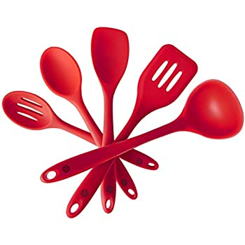 StarPack Home Silicone Kitchen Utensil Set with 101 Cooking Tips, Standard, 10.6-Inch (5 Piece Set) - Cherry Red