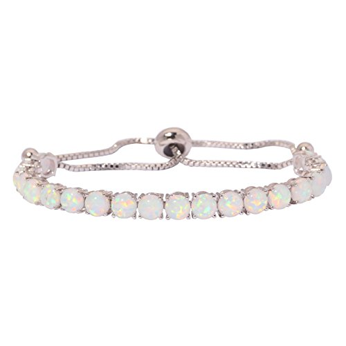 "CiNily Created Blue White Fire Opal Rhodium Plated for Women Jewelry Gemstone Adjustable Chain Bracelet 4 5/8"" (OS593)"