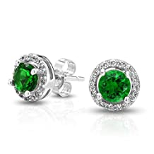 Bling Jewelry Crown Set Simulated Emerald CZ Stud Earrings Sterling Silver