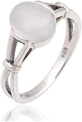 925 Sterling Silver 10 mm Genuine White Oval Moonstone Band Ring