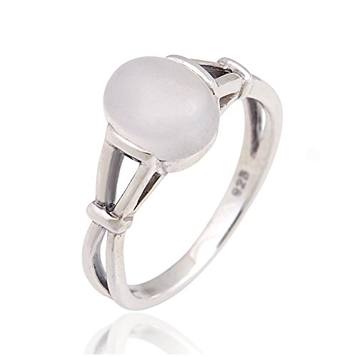 Chuvora 925 Sterling Silver 10 mm Genuine White Oval Moonstone Band Ring - Size -