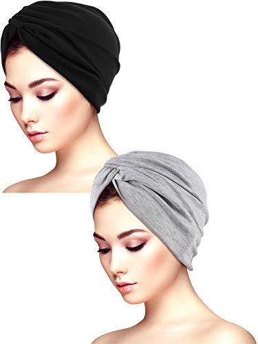 Yaomiao 2 Pieces Chemo Caps Beanie Scarf Cotton Elastic Turban Bandana Slouchy Hair Loss Beanie Hat for Women Girls (Color Set 2)
