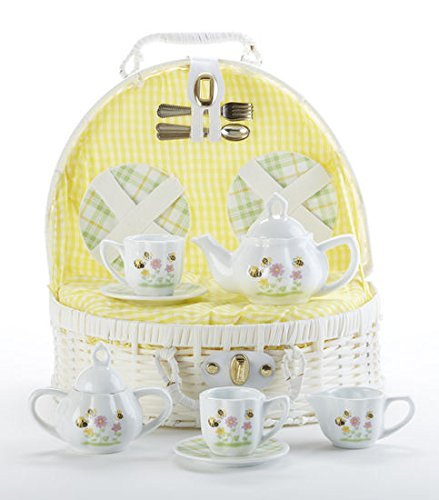 Delton Products Porcelain Bee Buzz Children's Tea Set in White Basket with Yellow Lining