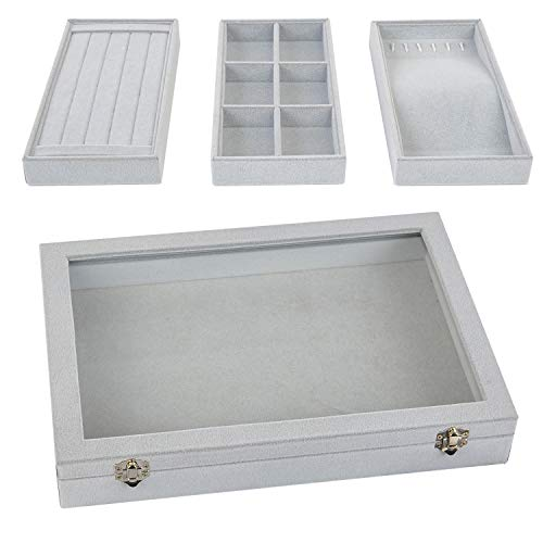 Drawer Top Tray Jewelry (Stackable Jewelry Tray with Lid, Earring Drawer Insert Display Show Case, Dresser Organizer for Ring Stud, Necklace Holder Storage Box Chest)