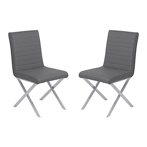 Armen Living LCTESIGRBS Tempe Dining Chair Set of 2 in Grey Faux Leather and Brushed Stainless Steel Finish (Dining Cross Chairs Leather)