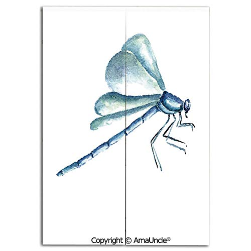 Cute Doorway Curtain Screen,Modern Room Divider Curtain,Hand Drawn Watercolor Dragonfly Figure with Grunge Murky Influences Picture Decorative(31.5x47.2 Inches),Hanging Curtain for Bedroom Living Room