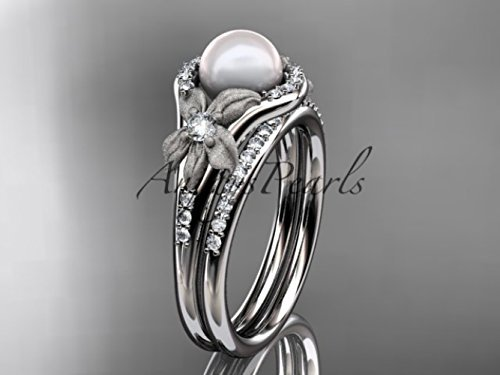 Pearl Leaf and Vine Engagement Ring - Platinum - Pearl Engagement Set - Anniversary Ring - Women's Wedding Ring - Unique Ring by AnjaysDesigns