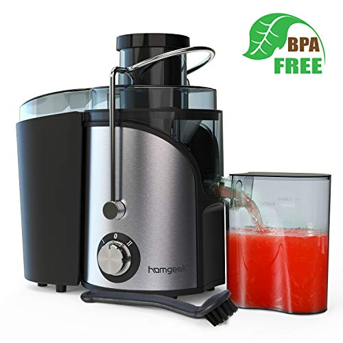 Homgeek Juicer Machines, Juicer Extractor with 3 Wide Mouth, Dual Speed Mode Compact Juicer with Anti-Shake, Easy to Clean, BPA-FREE