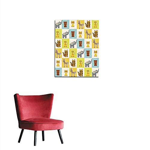 longbuyer Painting Post Funny Animals Bear cat Raccoon Zebra Tiger Elephant Seamless Pattern Mural 20