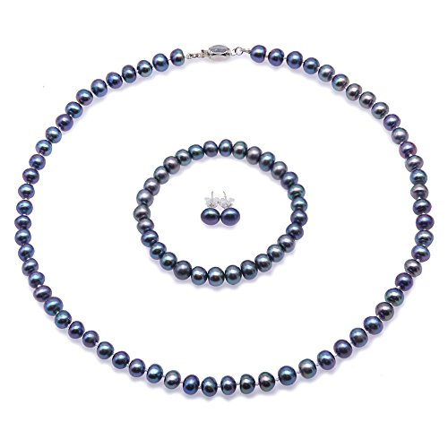 Blue Bracelet Pearl Necklace - JYX Pearl Necklace Set Pretty 7-8mm Freshwater Blue Pearl Necklace Bracelet and Earrings Set for Women