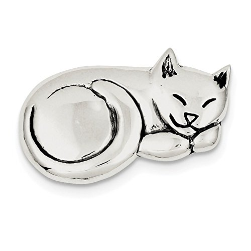 Lex & Lu Sterling Silver Antiqued Sleeping Cat Pin-Prime