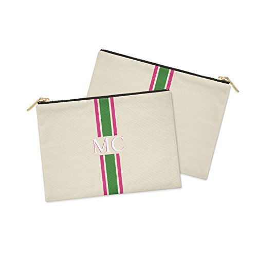 STRIPED GREY X 24CM amp; Green POUCH CLUTCH INITIALS COTTON BAG PERSONALISED CANVAS Striped amp; MONOGRAMMED PINK MEDIUM 19CM Pink 7wXpwqOI