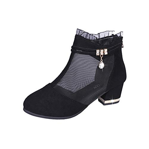 - Woman Roman Mesh Stiletto Rhinestone Chain Zip Mid Heel Shoes Retro Non Slip Wedged Sandals Vintage Party Boots Shoes (Black, 7 M US)