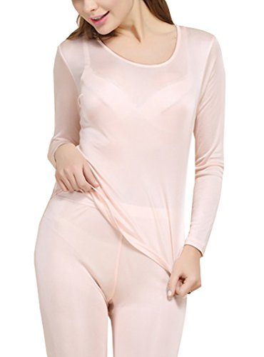 Silk Thermal - Fashion Silk Women's Thermal Underwear Sets Mulberry Silk Crewneck long Johns For Women Base layer (X-Small, Fleshcolor)