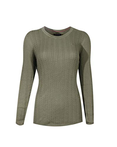 (Tommy Hilfiger Womens Scoop Neck Cable Knit Sweater (X-Small, Military Green))