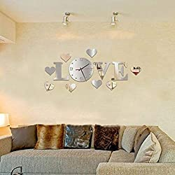 Chicoco Wall Sticker Wall Stickers Fashion Home Decoration Mirror Effect Wall Clock Art DIY Love Letters Sticker