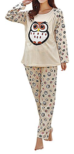US&R Women's Colorful Printed Maternity Breastfeeding Long Sleeve Pajama Set, KhakiOwl M ,Manufacturer(L) Classic Ruffle Capri Pajama