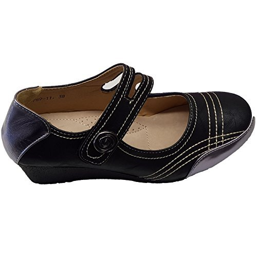Medio Dama Línea Negro Botón de Spiral Zapatos de Up Boutique Charol Cuero Hebilla Cuña Zafiro p5wEqSC