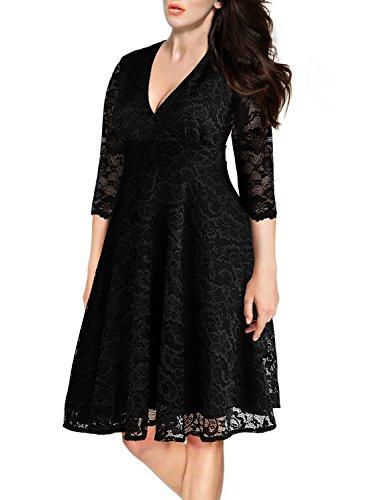 Arolina Women's Surplice V-Neck Retro Floral Lace Evening Dresses (3X-Large, Black)