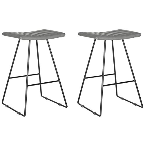 Safavieh Home Collection Akito Mid-Century Modern Grey 26-inch Counter Stool (Set of 2)