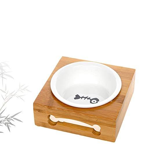 RIOS Mesa de Comedor de bambú para Mascotas de Acero Inoxidable de cerámica Tazón de Fuente de Perro Bowl para Mascotas de Dood Bowl,Tazón único de,M