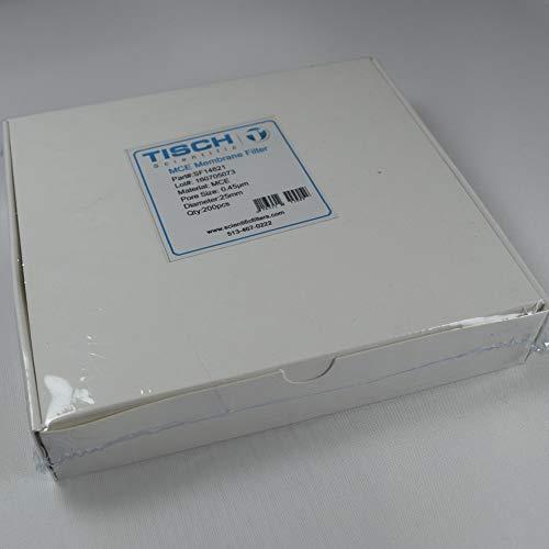 (Tisch Brand SF14621 Plain Mixed Cellulose Ester MCE Membrane Filter, 0.45um, 25mm, 1/pk/200 per pack | Wettability: Hydrophilic | Maximum Operating Temperature: 90 Degrees C)