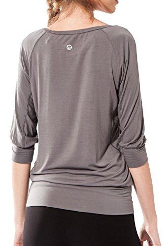 Camiseta Fitness para mujer, Ananda de Sternitz, Tela de Bambú - Ecológica y Suave - Perfecta para Yoga/Pilates/Deportes. Cuello redondo. Manga 3/4. Gris