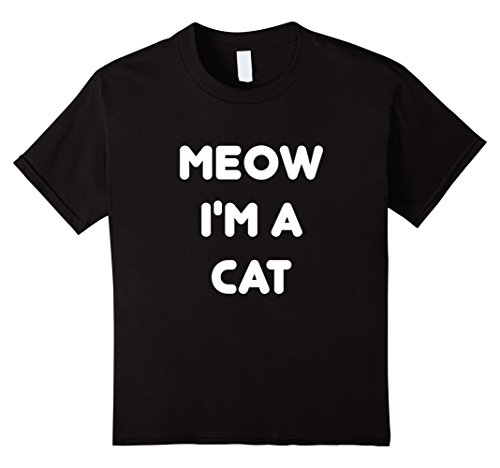 Kids Meow Cat Halloween Costume T-Shirt 8 Black (Easy Black Cat Halloween Costume)