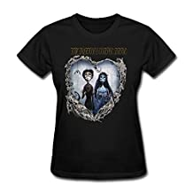 SALA Women's Tim Burton's Corpse Bride T-Shirts Black