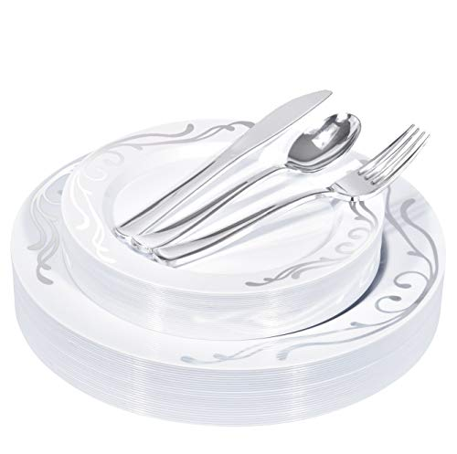 125-Piece Elegant Plastic Plates & Cutlery Set Service for 25 Disposable Place Setting Includes: 25 Dinner Plates, 25 Salad Plates, 25 Forks, 25 Knives, 25 Spoons (Silver Scroll) - Stock Your Home