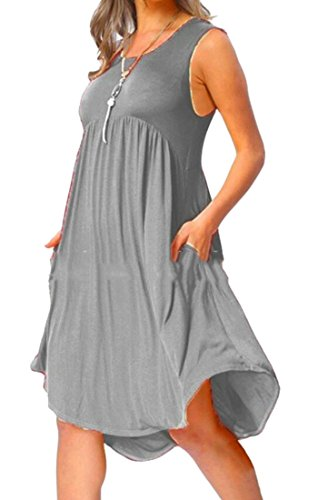 Domple Midi Womens Tunic Swing Pockets Sleeveless Dress Gray Stylish Pleated rwxS0HFcrq