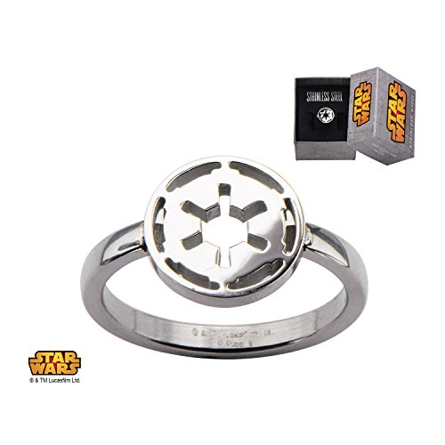 Women's Stainless Steel Star Wars Galactic Empire Symbol Cut Out Ring Jewelry Box Size 6 (Symbol Cut Ring Out)