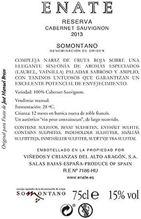ENATE Reserva Cabernet Sauvignon - Añada 2013, Vino Tinto - D.O. Somontano, 75 cl - Vino Tinto Color Granate muy Cubierto - Aromas Compotados y Silvestres - Fondo Especiado Vainilla, Pimienta y Laurel