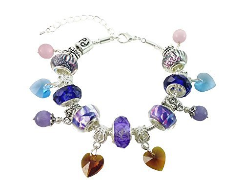 Dastan Handmade Colorful Charm Beaded Bracelet - Dangling Glass Crystal Beads- Silver Plated Snake (Around The World Costume Ideas Cheap)