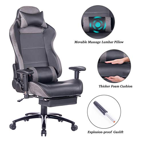 Blue Whale Gaming Chair with Footrest and Massage Lumbar Support Video Game Chair PC Computer Gamer Racing Chair High Back Ergonomic PU Leather Office Chair with Heavy Duty Matel Base&Headrest Grey
