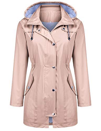 (Kikibell Rain Jacket Women Striped Lined Hooded Lightweight Raincoat Outdoor Waterproof Windbreaker (Pink,)