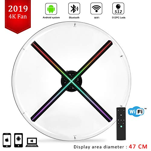4K 3D Hologram Fan with Four-Axil Holographic Fan Detachable Blades,1080P Hi-Resolution and WiFi Added - Holographic Projector Fan, Upload by APP and TF Card,Support iOS Android Windows (Display 3d Holographic)