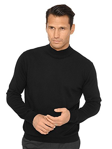 (Paul Fredrick Men's Silk, Cotton \ Cashmere Mock Neck Sweater Black Medium)